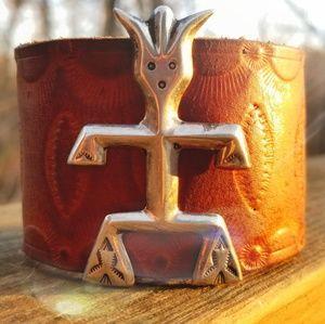 Jewelry - Vintage Navajo Sandcast Yei Leather Cuff Bracelet
